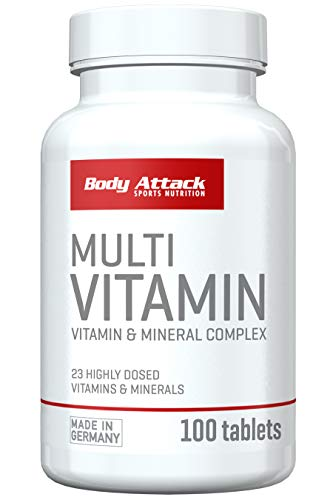 Body Attack Multi Vitamin, 200 Tabletten, 2er Pack (2x 140g), Dose