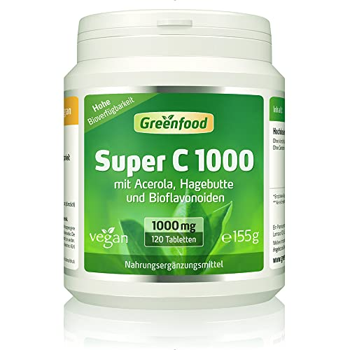 Greenfood Super C, 1000mg Vitamin C, mit Acerola, Bioflavonoiden, 120 Tabletten