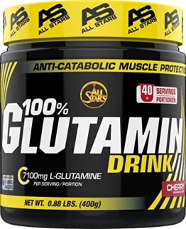 All Stars 100% Glutamin Drink, Kirsche, 1er Pack (1 x 400 g) -
