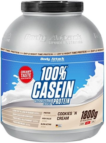 Body Attack 100% Casein Protein Cookies & Cream, 1er Pack (1 x 1.8 kg) -