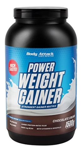 Body Attack Power Weight Gainer Chocolate, 1er Pack (1 x 1.5 kg) -