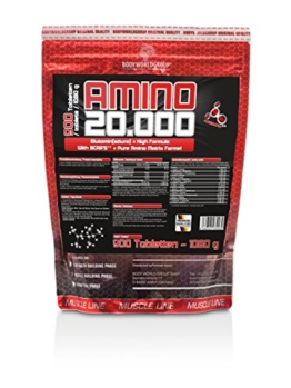BWG Amino 20.000, Protein Tabletten, Muscle Line, 900 Tabletten, 1er Pack (1 x 1080g Beutel) -