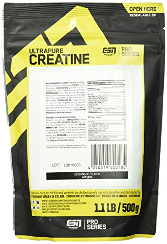 ESN Ultrapure Creatine Monohydrate, Pro Series, 1er Pack (1 x 500g Beutel) - 3