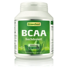 Greenfood BCAA, 1000mg, hochdosiert, 100 Tabletten -