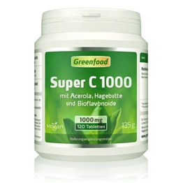 Greenfood Super C, 1000mg Vitamin C, mit Acerola, Bioflavonoiden, 120 Tabletten -