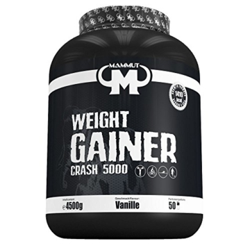 Mammut Weight Gainer Crash 5000, Kohlenhydrate Masseaufbau Kreatin, Vanille , 4.5 kg, 1er Pack -