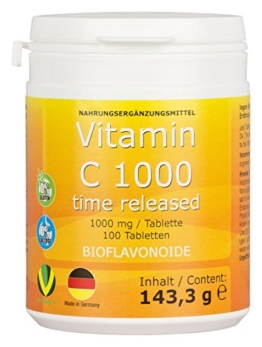 Vitamin C 1000mg + Bioflavonoide TIME RELEASED 100 Tabletten Made in Germany Vegan - 1