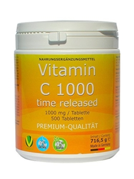 Vitamin C 1000mg TIME RELEASED 500 Tabletten Made in Germany glutenfrei Premium Qualität -