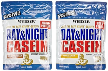 Weider Day und Night Casein Beutel 2er Mix Pack (2 x 500 g) Chocolate Cream/ Vanilla Cream, 1er Pack (1 x 1 kg) -